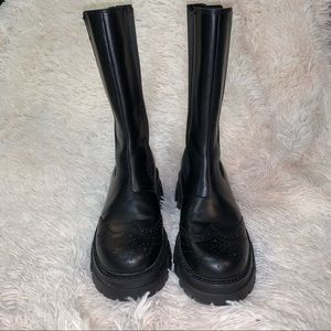ASH LENNOX LUG-SOLE BLACK LEATHER BROGUE BOOTS